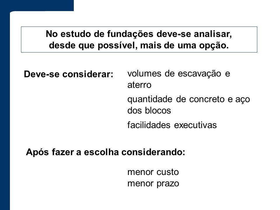 Após fazer a escolha considerando: No estudo de fundações deve-se analisar, desde que possível, mais de uma opção. Deve-se considerar: volumes de esca