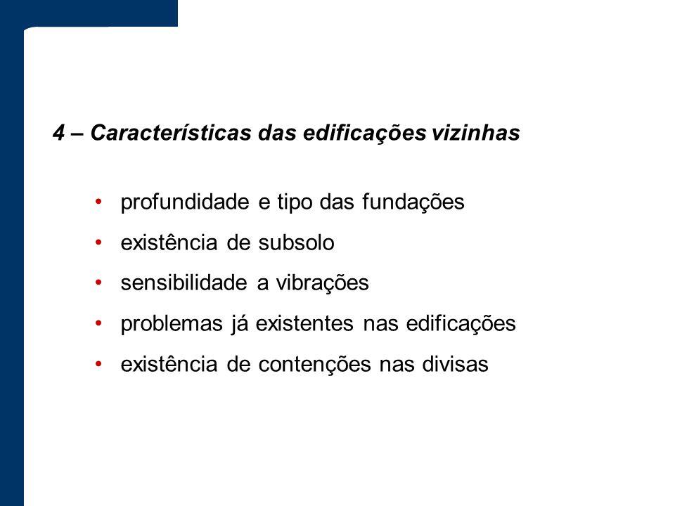 4 – Características das edificações vizinhas profundidade e tipo das fundações existência de subsolo sensibilidade a vibrações problemas já existentes