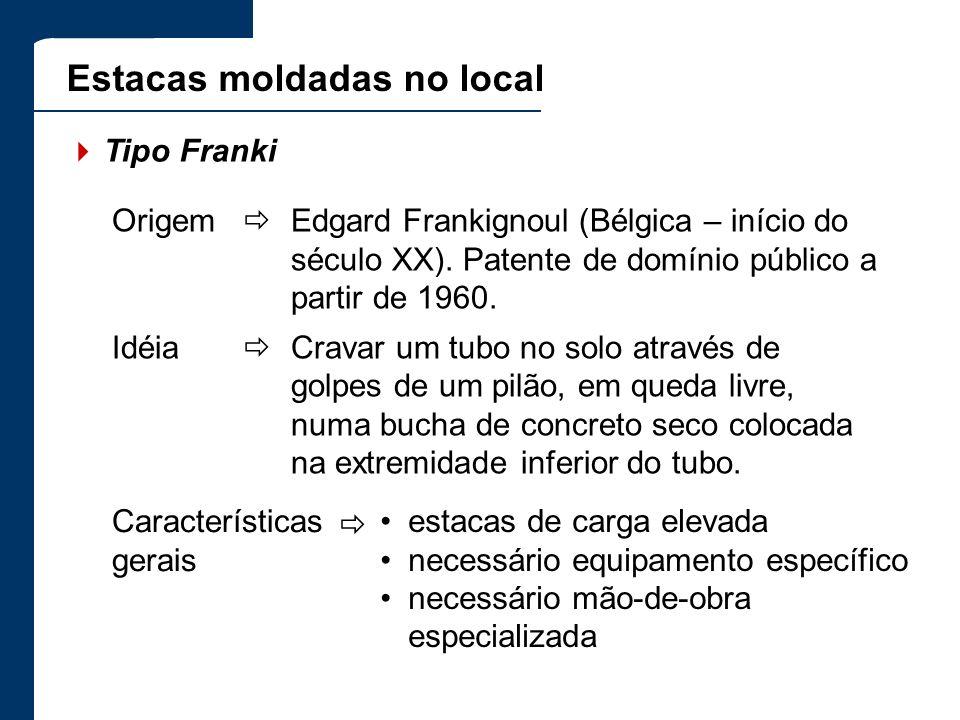 Estacas moldadas no local Tipo Franki Origem Edgard Frankignoul (Bélgica – início do século XX). Patente de domínio público a partir de 1960. Idéia Cr