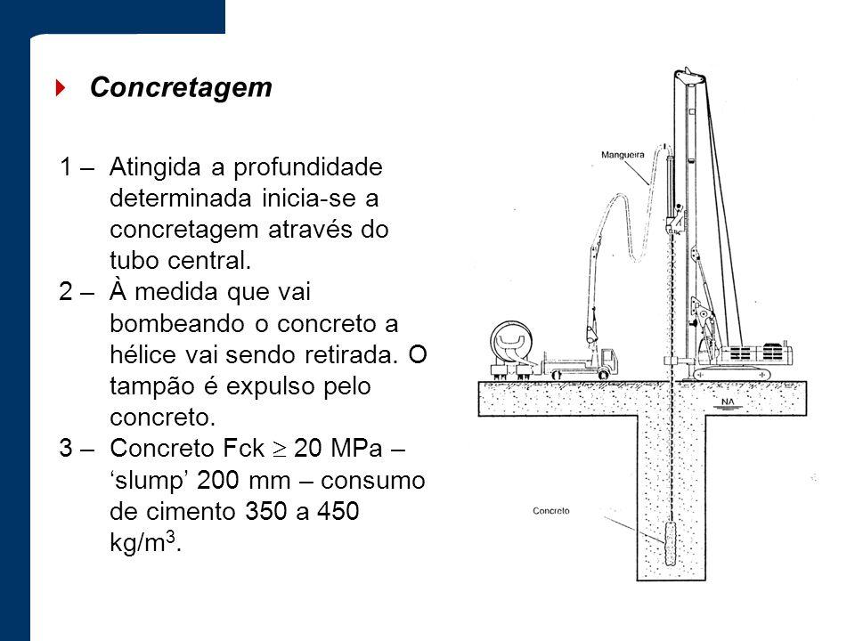 Concretagem 1 –Atingida a profundidade determinada inicia-se a concretagem através do tubo central. 2 –À medida que vai bombeando o concreto a hélice