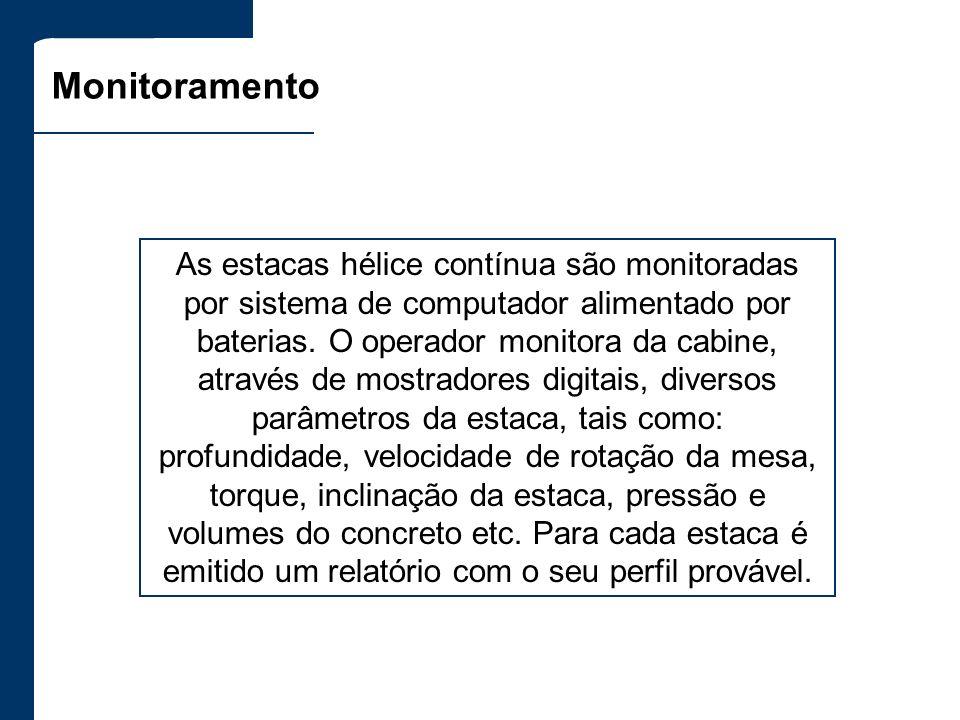Monitoramento As estacas hélice contínua são monitoradas por sistema de computador alimentado por baterias. O operador monitora da cabine, através de