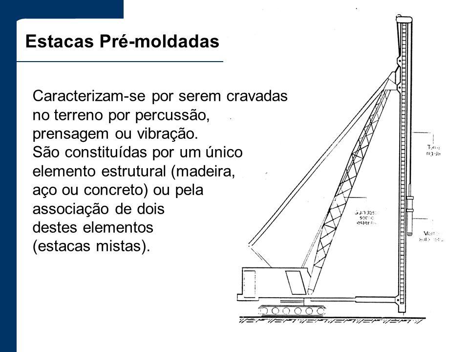 Estacas Pré-moldadas Caracterizam-se por serem cravadas no terreno por percussão, prensagem ou vibração. São constituídas por um único elemento estrut