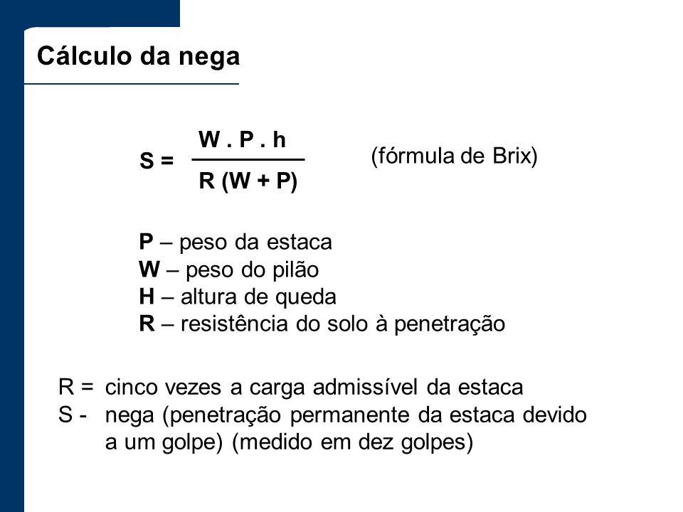 Cálculo da nega R =cinco vezes a carga admissível da estaca S -nega (penetração permanente da estaca devido a um golpe) (medido em dez golpes) S = W.
