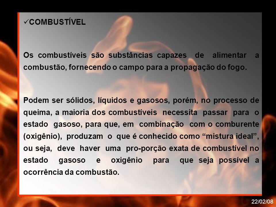22/02/08 COMBUSTÍVEL Os combustíveis são substâncias capazes de alimentar a combustão, fornecendo o campo para a propagação do fogo. Podem ser sólidos