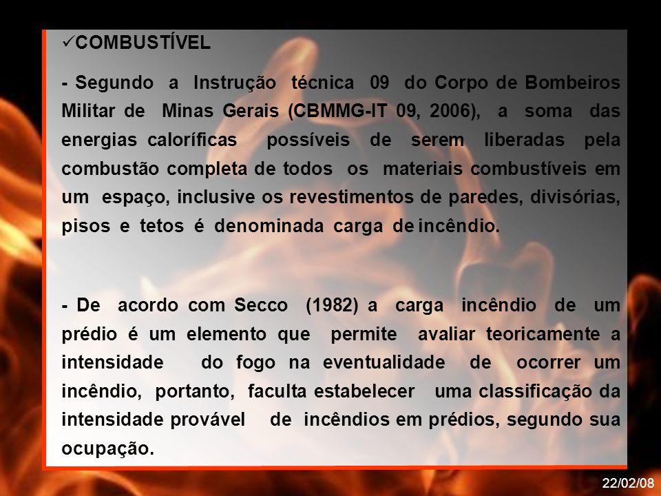 22/02/08 COMBUSTÍVEL - Segundo a Instrução técnica 09 do Corpo de Bombeiros Militar de Minas Gerais (CBMMG-IT 09, 2006), a soma das energias calorífic