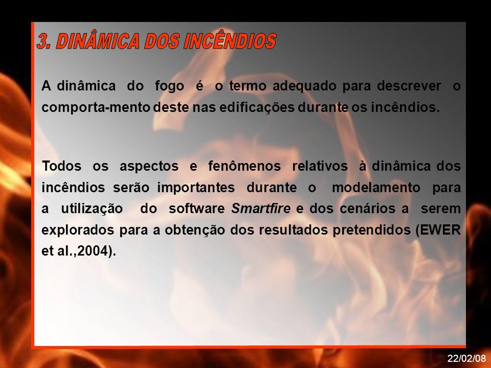 22/02/08 A dinâmica do fogo é o termo adequado para descrever o comporta-mento deste nas edificações durante os incêndios. Todos os aspectos e fenômen