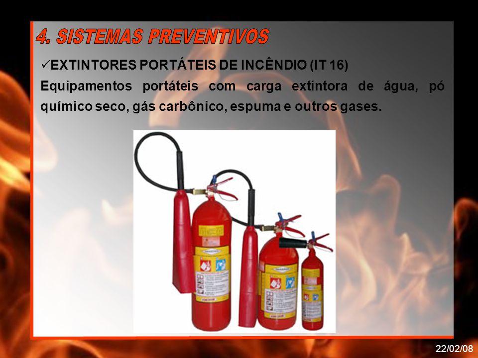 22/02/08 EXTINTORES PORTÁTEIS DE INCÊNDIO (IT 16) Equipamentos portáteis com carga extintora de água, pó químico seco, gás carbônico, espuma e outros