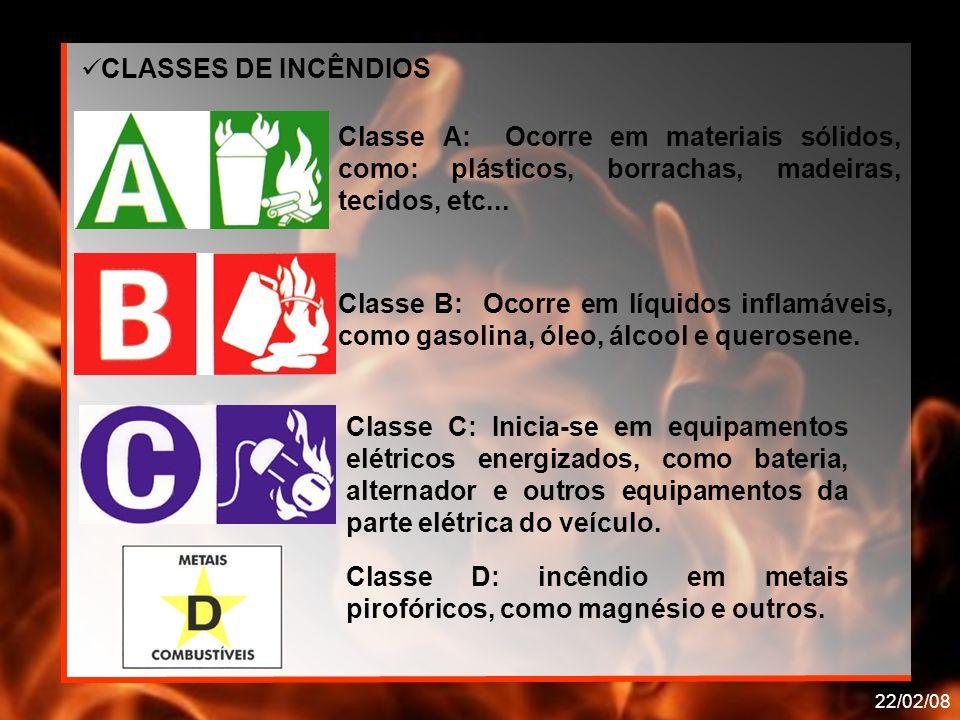 22/02/08 Classe A: Ocorre em materiais sólidos, como: plásticos, borrachas, madeiras, tecidos, etc... Classe B: Ocorre em líquidos inflamáveis, como g
