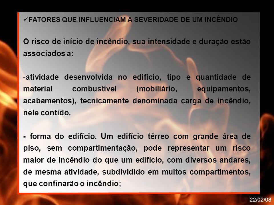 22/02/08 FATORES QUE INFLUENCIAM A SEVERIDADE DE UM INCÊNDIO O risco de início de incêndio, sua intensidade e duração estão associados a: -atividade d