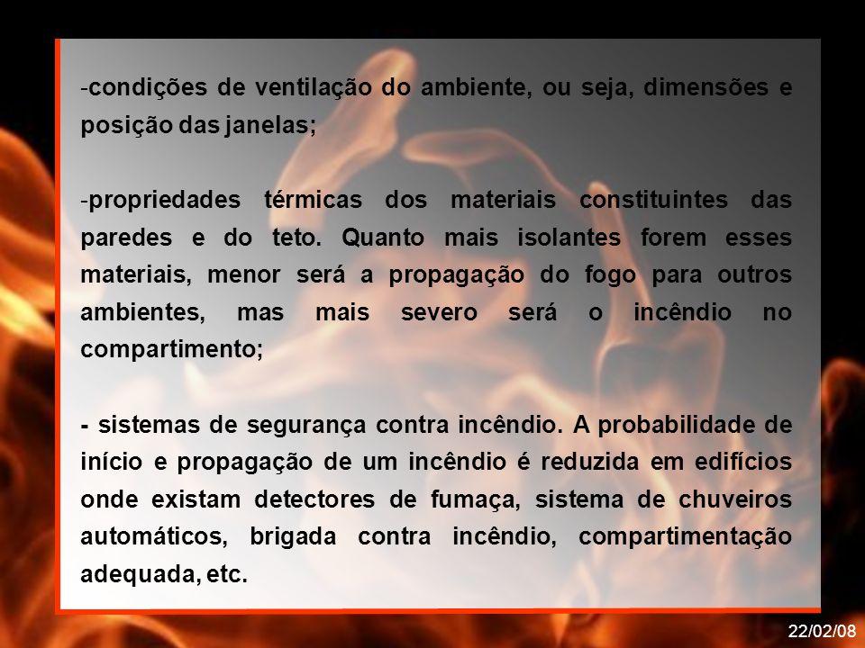 22/02/08 Onde: qf i é o valor da carga de incêndio específica, em (MJ/m²) de área de piso; M i é a massa total de cada componente i do material combustível, em kg.