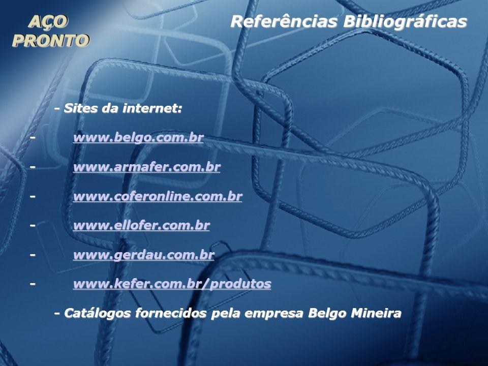 AÇOPRONTOAÇOPRONTO - Sites da internet: - www.belgo.com.br www.belgo.com.br - www.armafer.com.br www.armafer.com.br - www.coferonline.com.br www.cofer