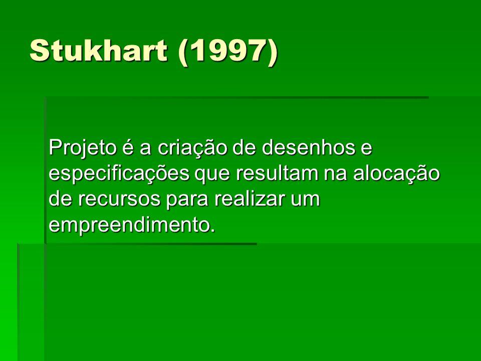 Stukhart (1997) Projeto é a criação de desenhos e especificações que resultam na alocação de recursos para realizar um empreendimento.