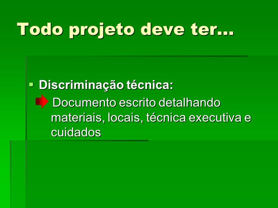 Todo projeto deve ter... Discriminação técnica: Discriminação técnica: Documento escrito detalhando materiais, locais, técnica executiva e cuidados Do