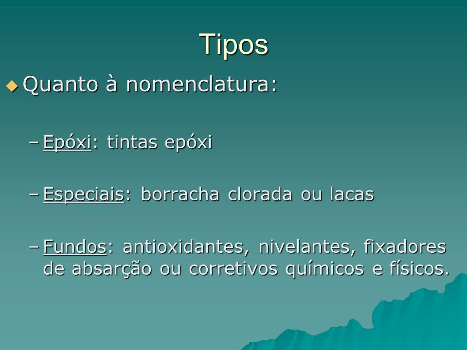 Tipos Quanto à nomenclatura: Quanto à nomenclatura: –Epóxi: tintas epóxi –Especiais: borracha clorada ou lacas –Fundos: antioxidantes, nivelantes, fixadores de absarção ou corretivos químicos e físicos.