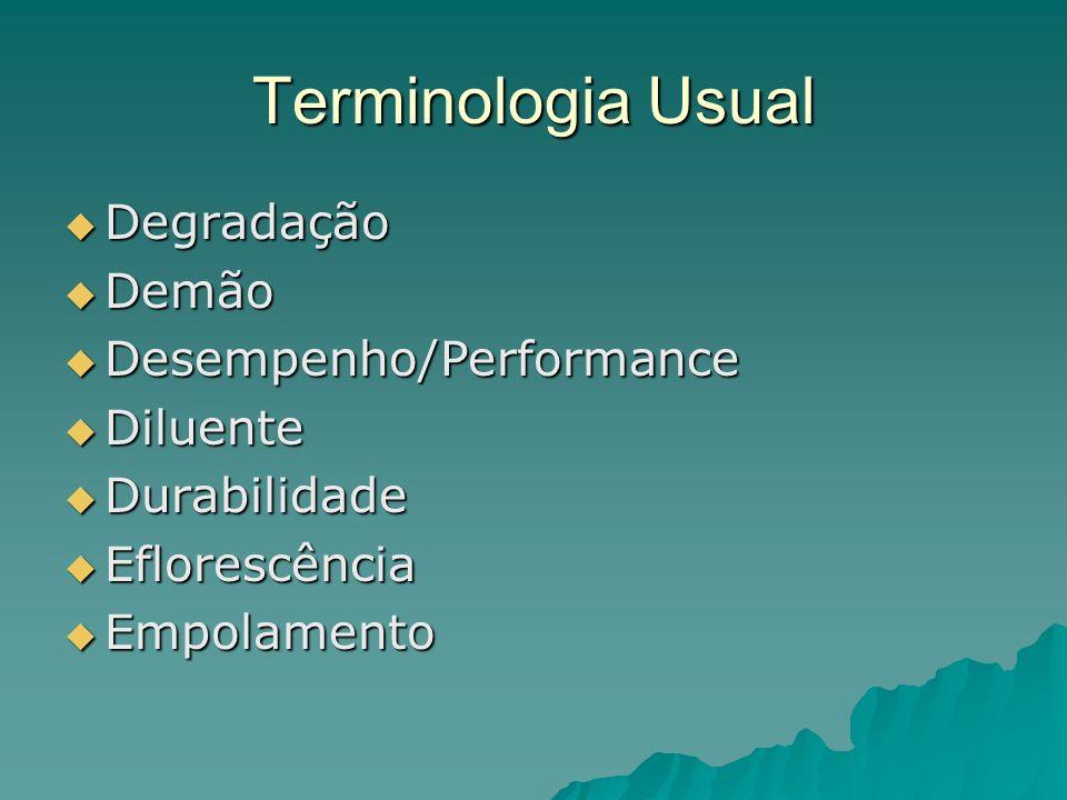 Terminologia Usual Degradação Degradação Demão Demão Desempenho/Performance Desempenho/Performance Diluente Diluente Durabilidade Durabilidade Eflorescência Eflorescência Empolamento Empolamento