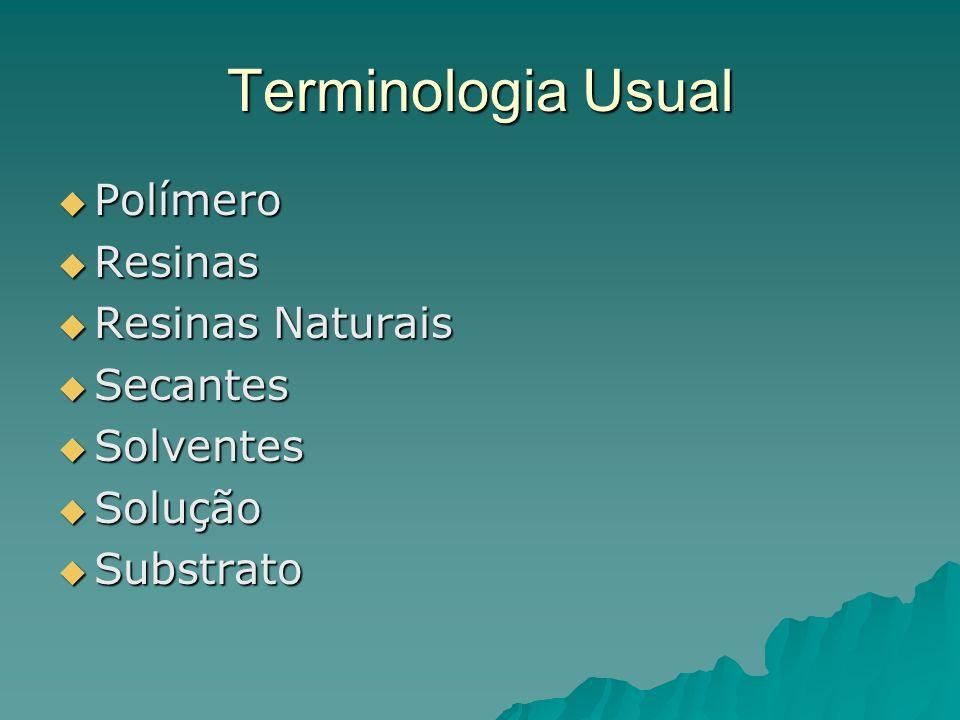 Terminologia Usual Polímero Polímero Resinas Resinas Resinas Naturais Resinas Naturais Secantes Secantes Solventes Solventes Solução Solução Substrato Substrato