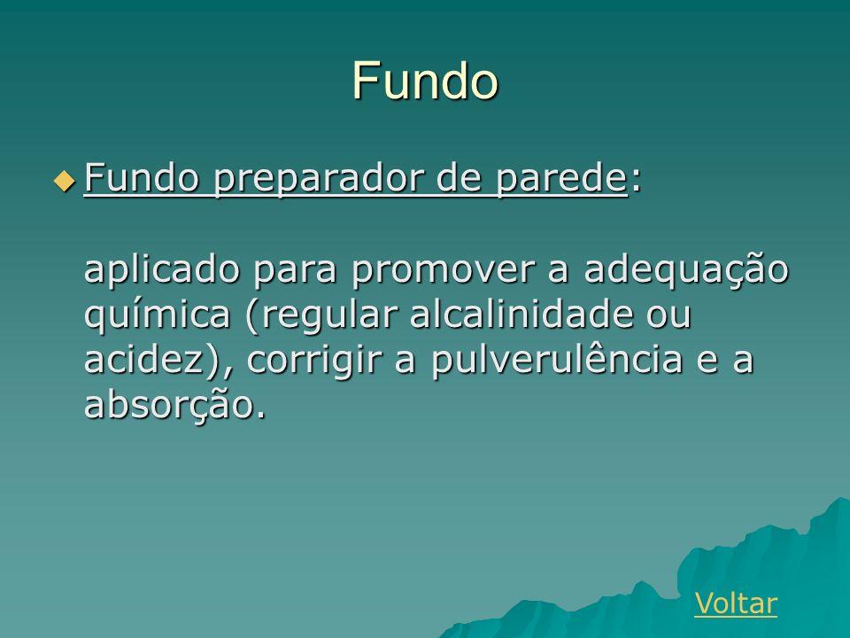 Fundo Fundo preparador de parede: aplicado para promover a adequação química (regular alcalinidade ou acidez), corrigir a pulverulência e a absorção.