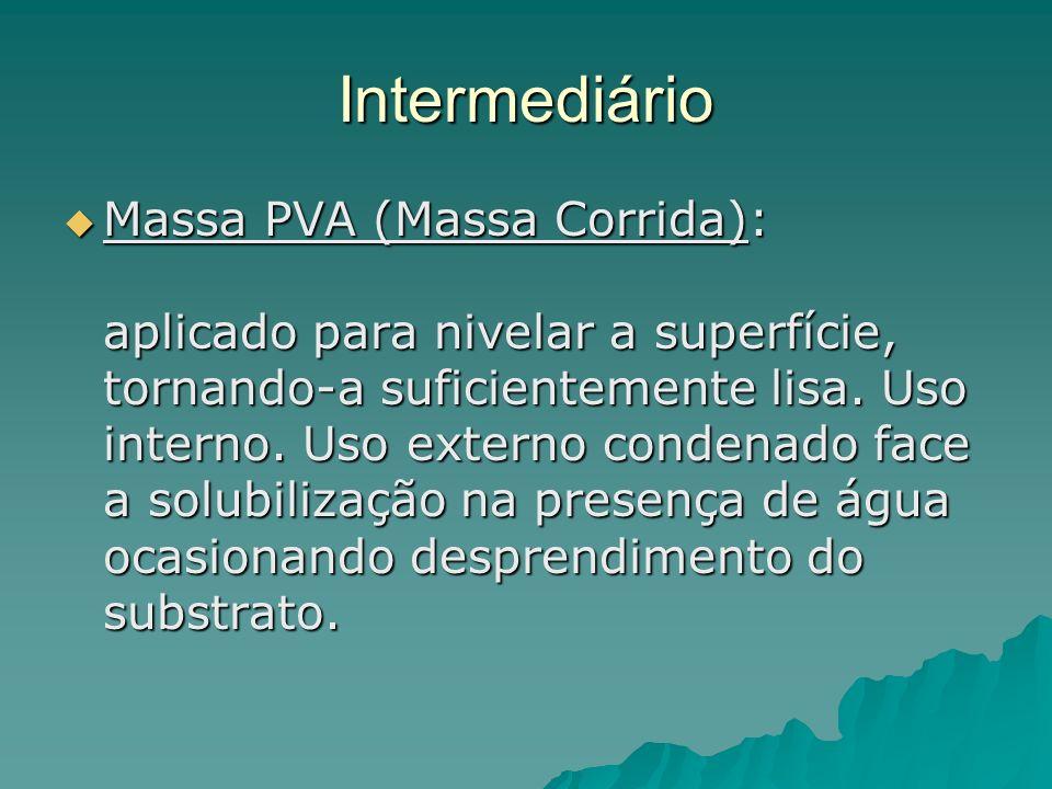 Intermediário Massa PVA (Massa Corrida): aplicado para nivelar a superfície, tornando-a suficientemente lisa.