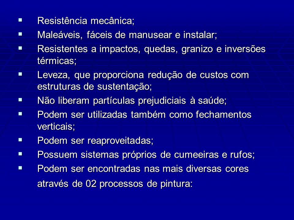 Resistência mecânica; Resistência mecânica; Maleáveis, fáceis de manusear e instalar; Maleáveis, fáceis de manusear e instalar; Resistentes a impactos