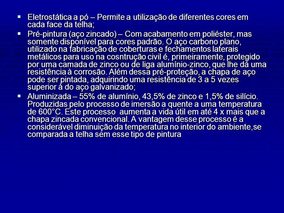 Eletrostática a pó – Permite a utilização de diferentes cores em cada face da telha; Eletrostática a pó – Permite a utilização de diferentes cores em