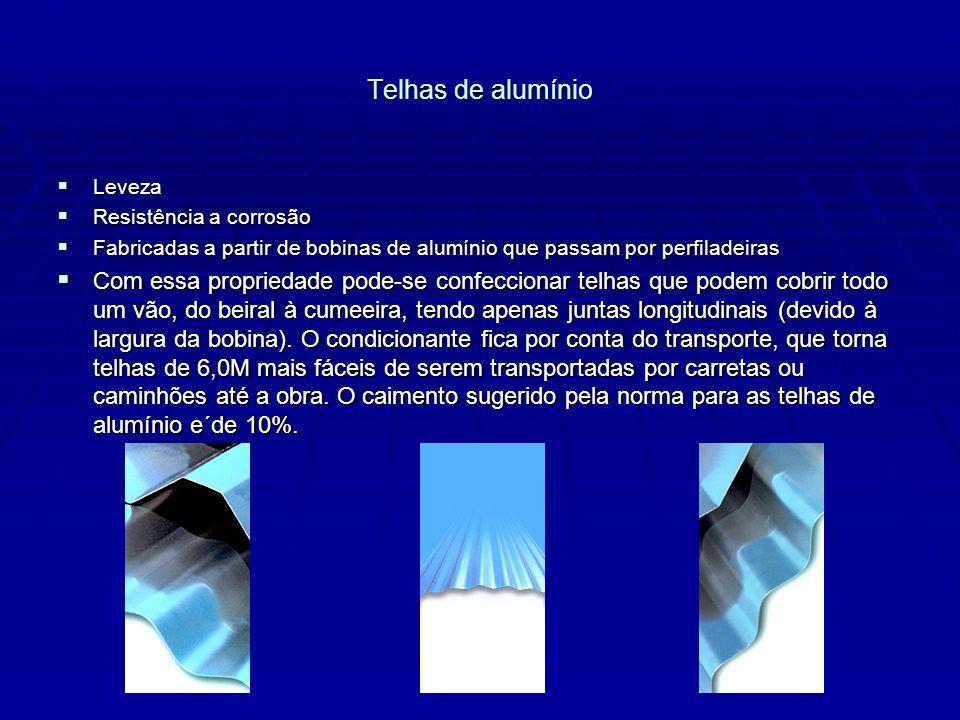 Telhas de alumínio Leveza Leveza Resistência a corrosão Resistência a corrosão Fabricadas a partir de bobinas de alumínio que passam por perfiladeiras