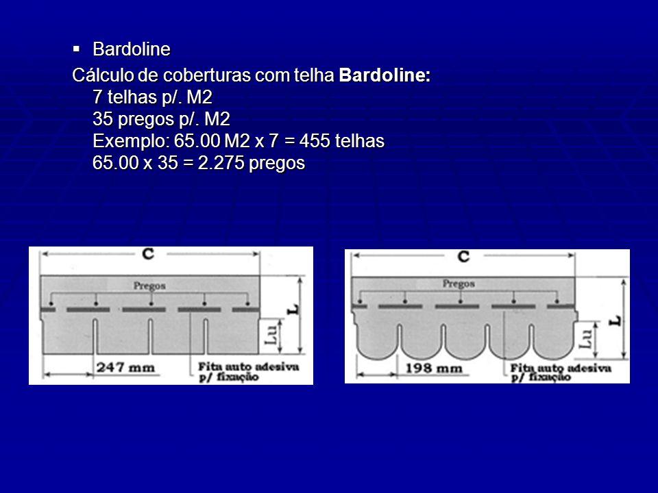 Bardoline Bardoline Cálculo de coberturas com telha Bardoline: 7 telhas p/. M2 35 pregos p/. M2 Exemplo: 65.00 M2 x 7 = 455 telhas 65.00 x 35 = 2.275