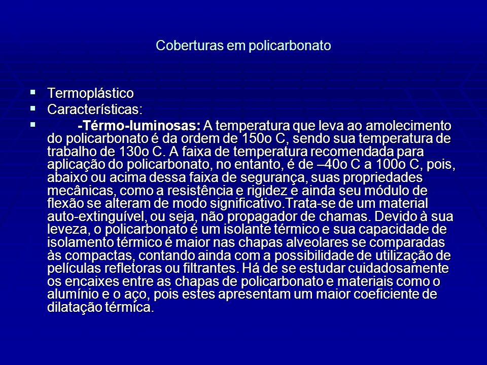 Coberturas em policarbonato Termoplástico Termoplástico Características: Características: -Térmo-luminosas: A temperatura que leva ao amolecimento do