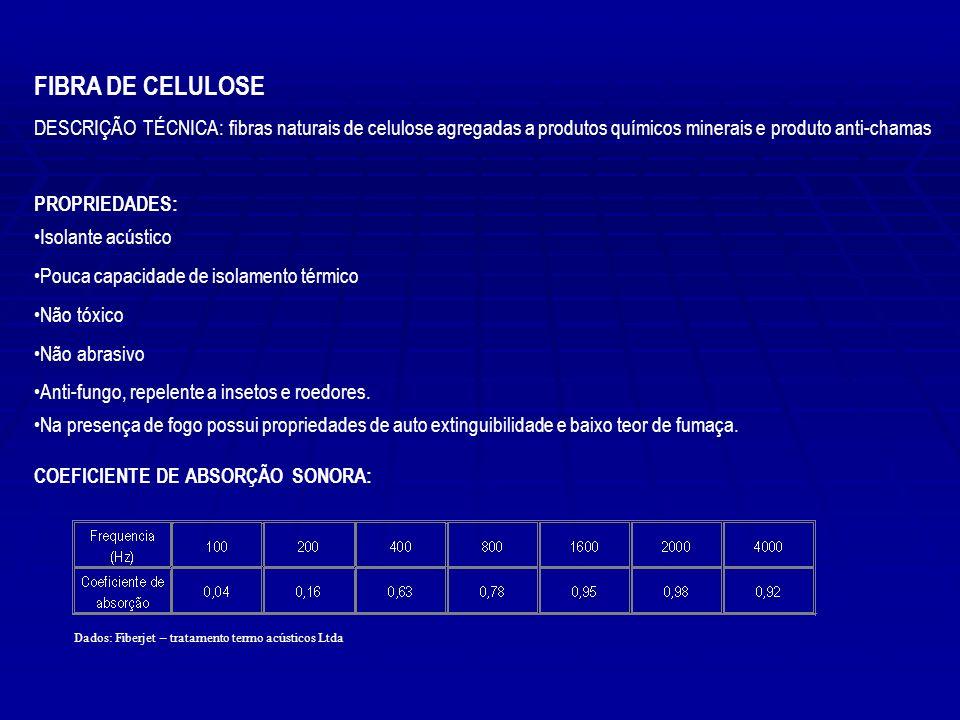 FIBRA DE CELULOSE DESCRIÇÃO TÉCNICA: fibras naturais de celulose agregadas a produtos químicos minerais e produto anti-chamas PROPRIEDADES: Isolante a