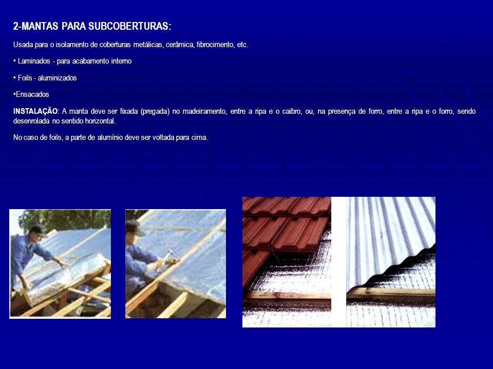 2-MANTAS PARA SUBCOBERTURAS: Usada para o isolamento de coberturas metálicas, cerâmica, fibrocimento, etc. Laminados - para acabamento interno Foils -