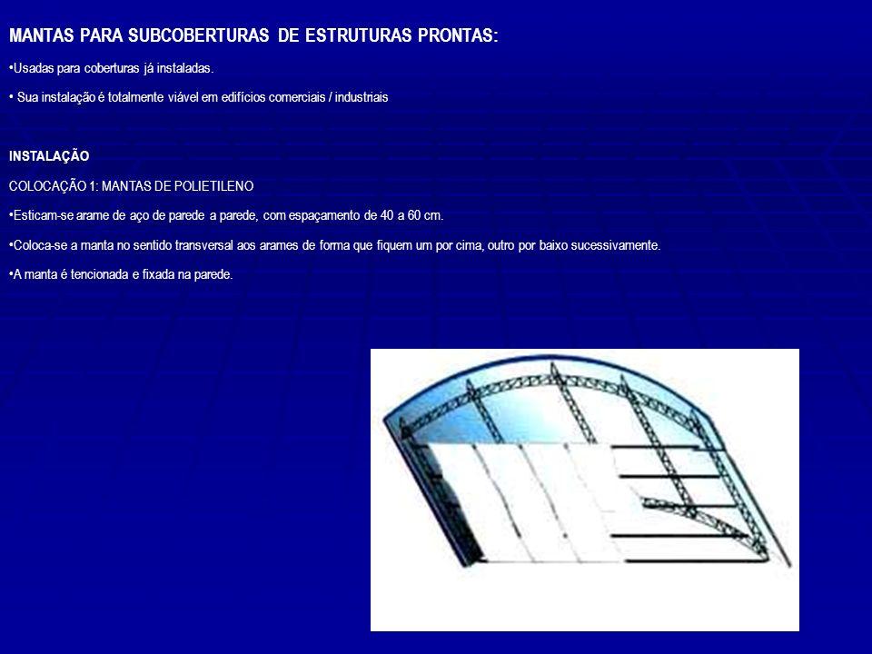 MANTAS PARA SUBCOBERTURAS DE ESTRUTURAS PRONTAS: Usadas para coberturas já instaladas. Sua instalação é totalmente viável em edifícios comerciais / in