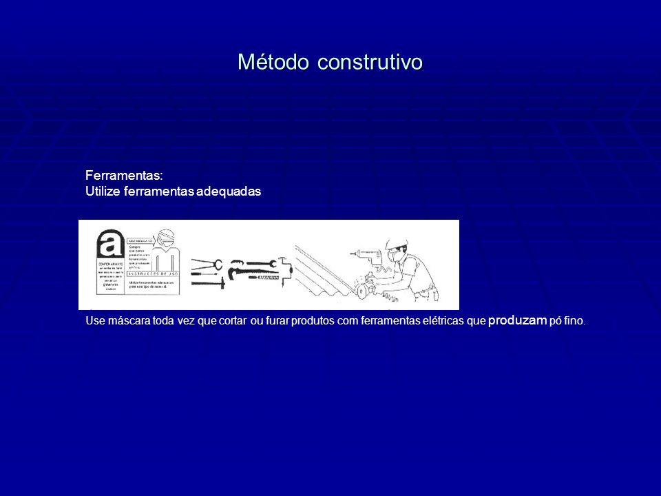 Método construtivo Ferramentas: Utilize ferramentas adequadas Use máscara toda vez que cortar ou furar produtos com ferramentas elétricas que produzam