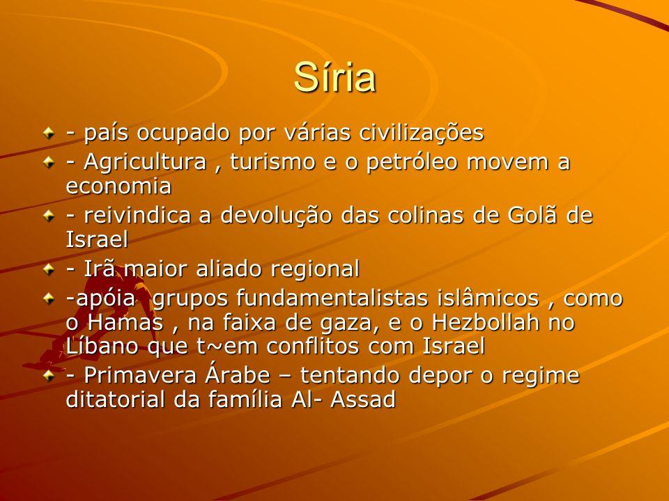 Síria - país ocupado por várias civilizações - Agricultura, turismo e o petróleo movem a economia - reivindica a devolução das colinas de Golã de Isra