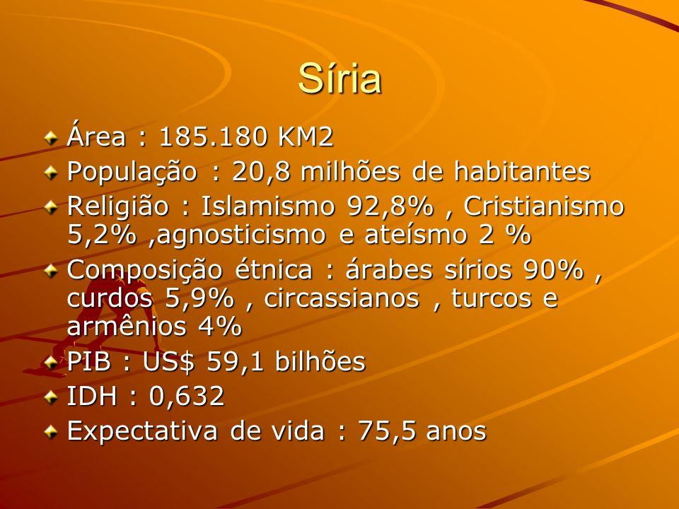 Síria Área : 185.180 KM2 População : 20,8 milhões de habitantes Religião : Islamismo 92,8%, Cristianismo 5,2%,agnosticismo e ateísmo 2 % Composição ét