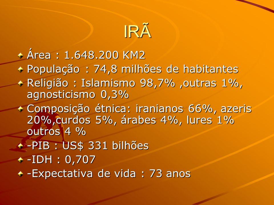 IRÃ Área : 1.648.200 KM2 População : 74,8 milhões de habitantes Religião : Islamismo 98,7%,outras 1%, agnosticismo 0,3% Composição étnica: iranianos 6