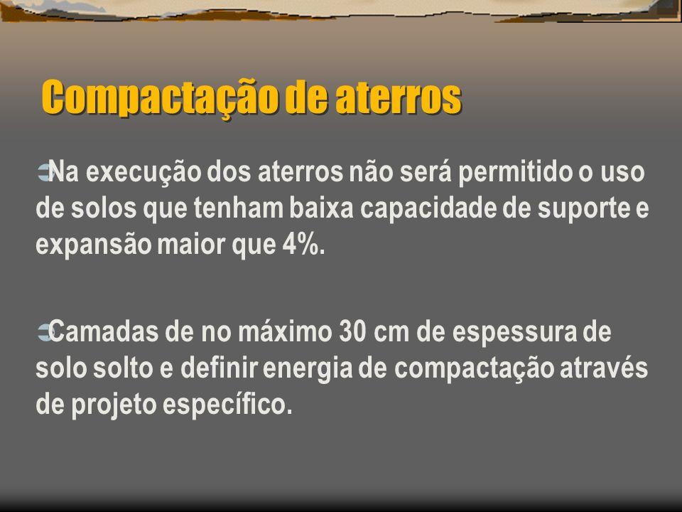 Compactação de aterros Na execução dos aterros não será permitido o uso de solos que tenham baixa capacidade de suporte e expansão maior que 4%. Camad