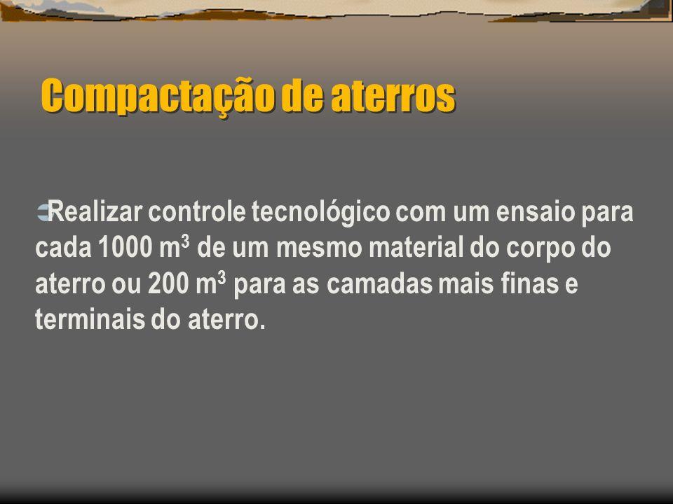 Compactação de aterros Realizar controle tecnológico com um ensaio para cada 1000 m 3 de um mesmo material do corpo do aterro ou 200 m 3 para as camad