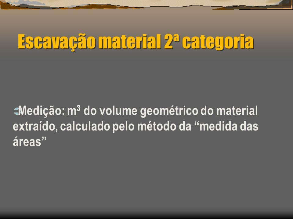 Escavação material 2ª categoria Medição: m 3 do volume geométrico do material extraído, calculado pelo método da medida das áreas