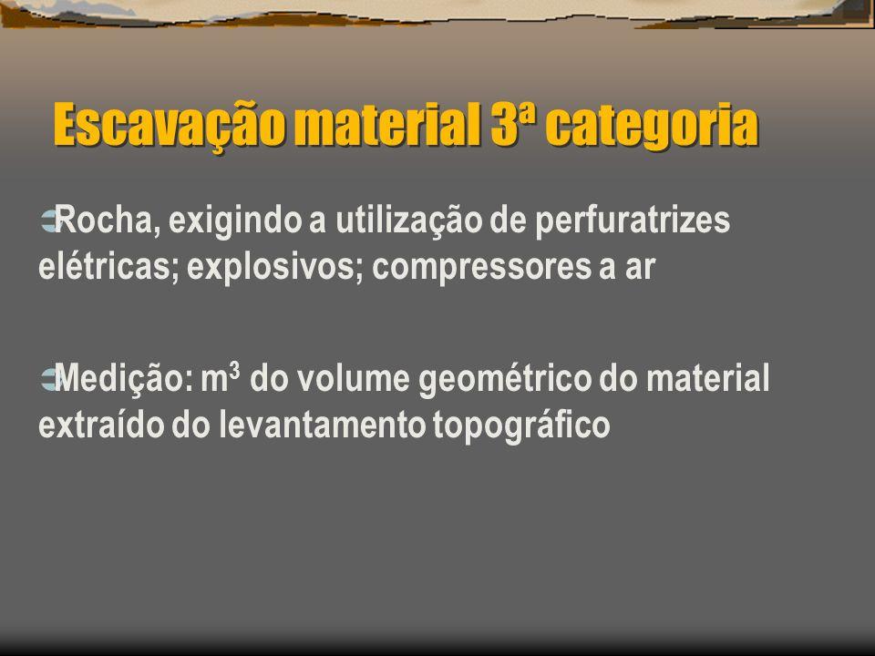 Escavação material 3ª categoria Rocha, exigindo a utilização de perfuratrizes elétricas; explosivos; compressores a ar Medição: m 3 do volume geométri