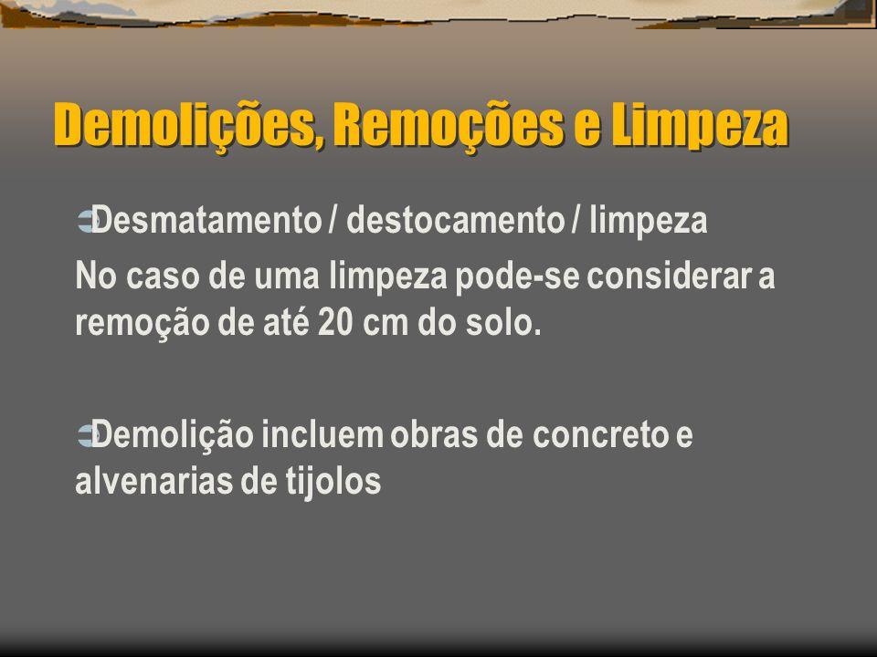 Demolições, Remoções e Limpeza Desmatamento / destocamento / limpeza No caso de uma limpeza pode-se considerar a remoção de até 20 cm do solo. Demoliç
