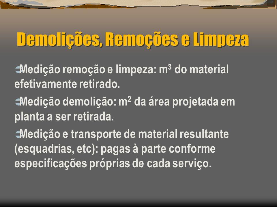 Demolições, Remoções e Limpeza Medição remoção e limpeza: m 3 do material efetivamente retirado. Medição demolição: m 2 da área projetada em planta a