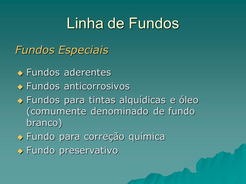 Linha de Fundos Fundos Especiais Fundos aderentes Fundos aderentes Fundos anticorrosivos Fundos anticorrosivos Fundos para tintas alquídicas e óleo (c