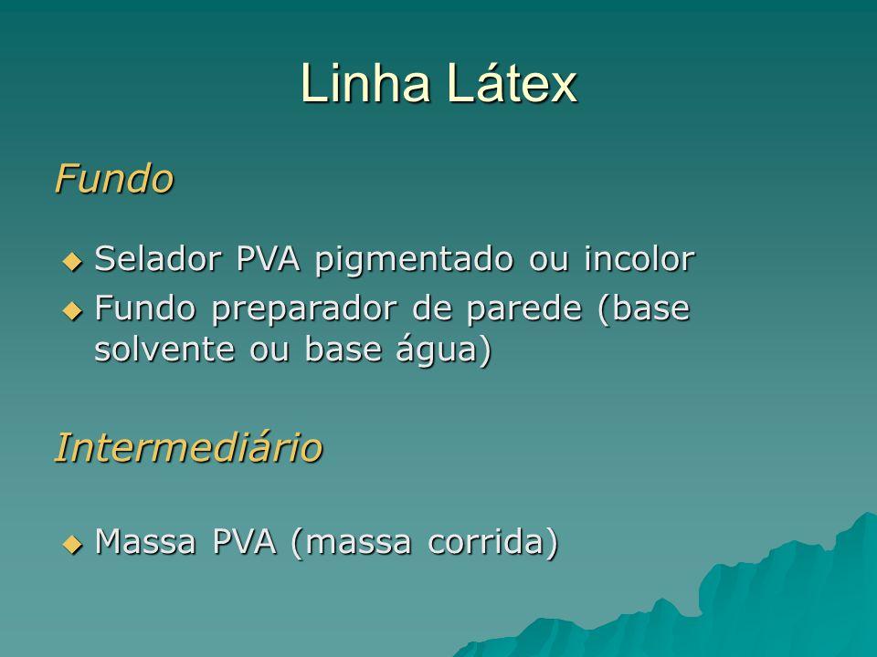 Linha Látex Fundo Selador PVA pigmentado ou incolor Selador PVA pigmentado ou incolor Fundo preparador de parede (base solvente ou base água) Fundo pr