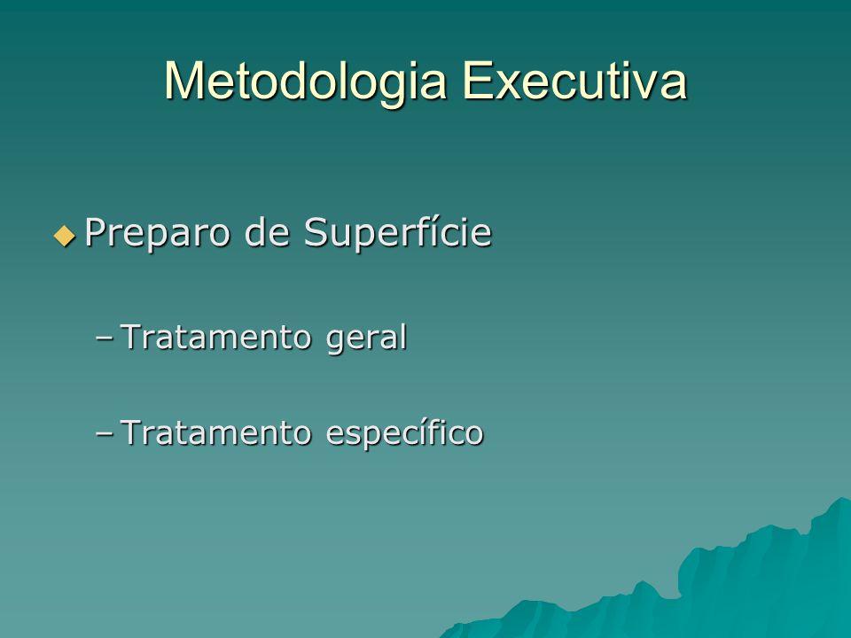 Metodologia Executiva Preparo de Superfície Preparo de Superfície –Tratamento geral –Tratamento específico