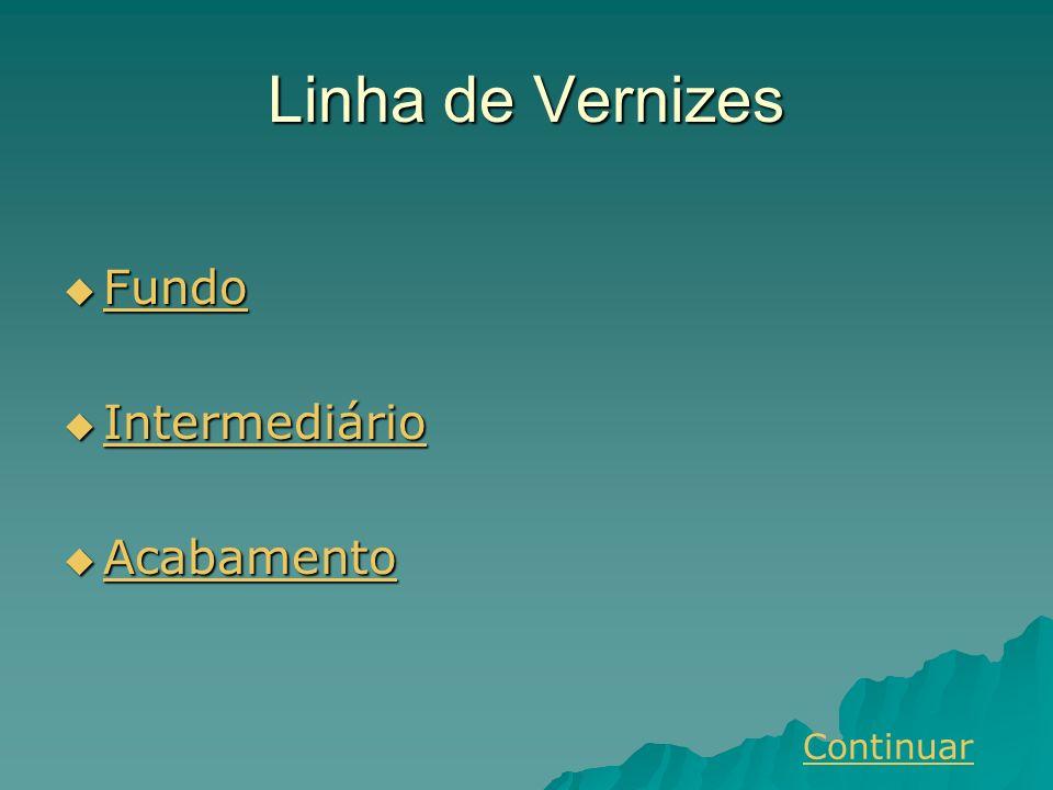 Linha de Vernizes Fundo Fundo Fundo Intermediário Intermediário Intermediário Acabamento Acabamento Acabamento Continuar