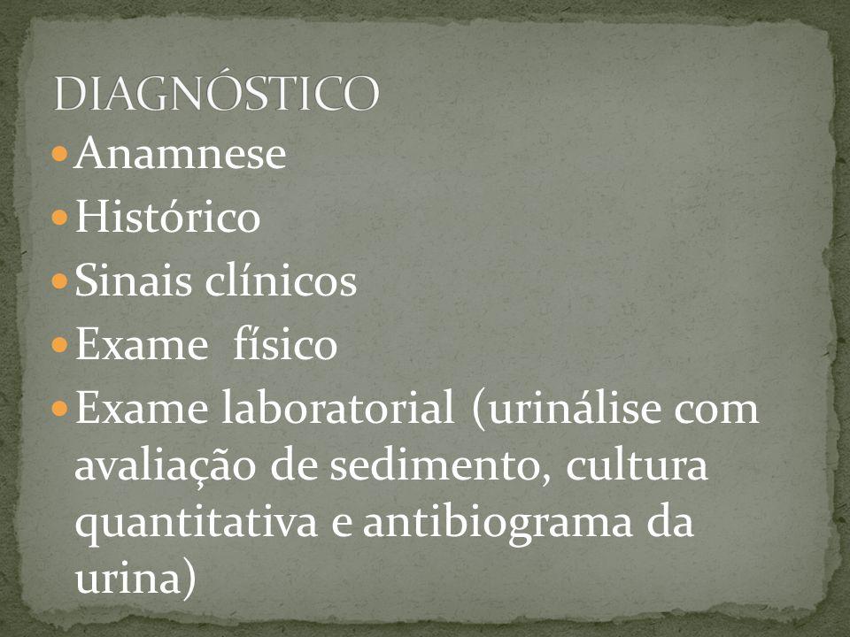 Anamnese Histórico Sinais clínicos Exame físico Exame laboratorial (urinálise com avaliação de sedimento, cultura quantitativa e antibiograma da urina