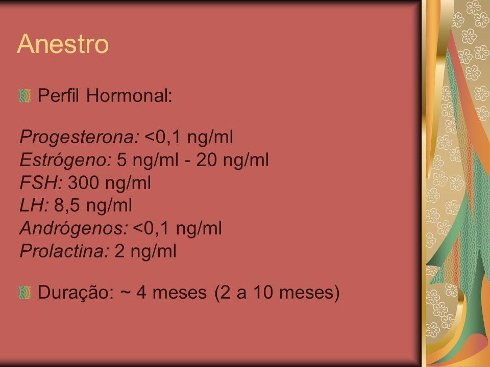 Anestro Perfil Hormonal: Progesterona: <0,1 ng/ml Estrógeno: 5 ng/ml - 20 ng/ml FSH: 300 ng/ml LH: 8,5 ng/ml Andrógenos: <0,1 ng/ml Prolactina: 2 ng/m