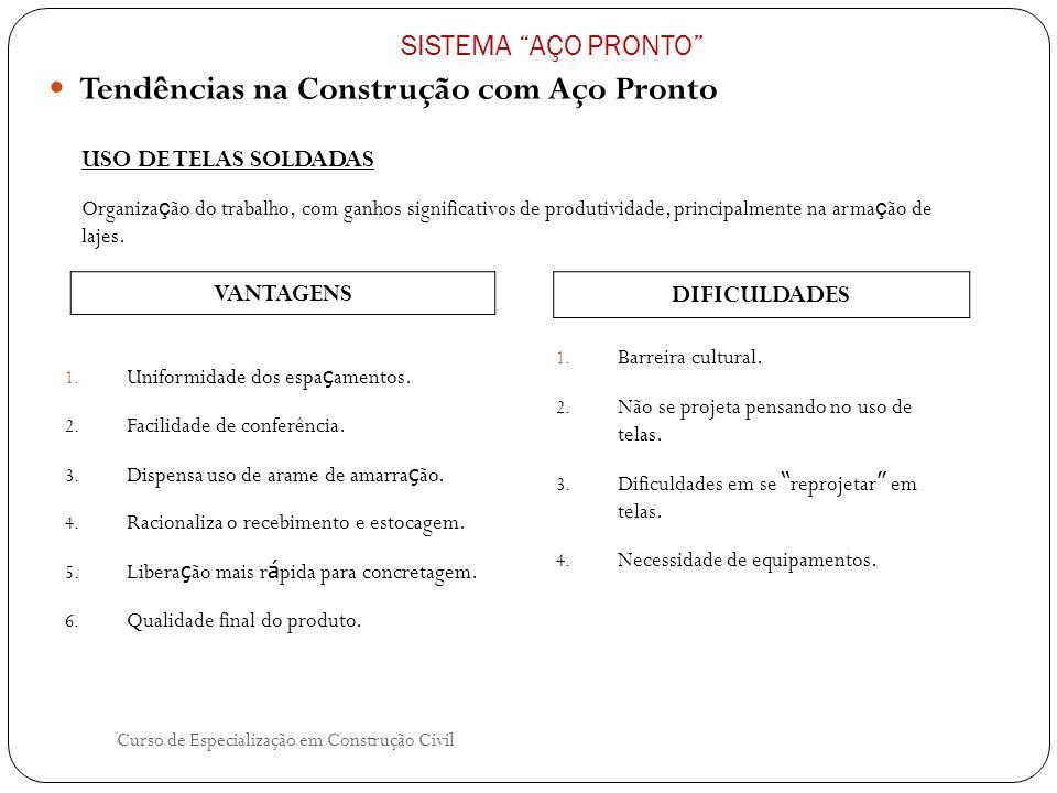 Curso de Especialização em Construção Civil Tendências na Construção com Aço Pronto SISTEMA AÇO PRONTO USO DE TELAS SOLDADAS 1. Uniformidade dos espa