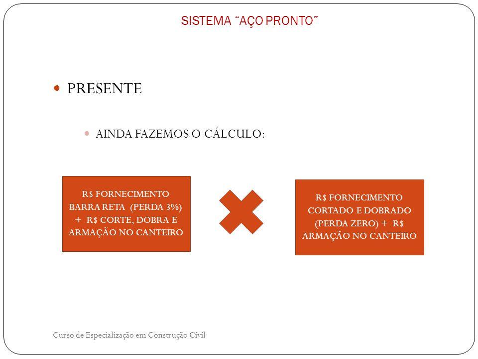 Curso de Especialização em Construção Civil SISTEMA AÇO PRONTO PRESENTE AINDA FAZEMOS O CÁLCULO: R$ FORNECIMENTO BARRA RETA (PERDA 3%) + R$ CORTE, DOB