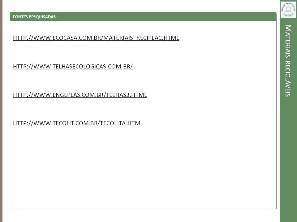 M ATERIAIS RECICLÁVEIS FONTES PESQUISADAS HTTP://WWW.ECOCASA.COM.BR/MATERIAIS_RECIPLAC.HTML HTTP://WWW.TELHASECOLOGICAS.COM.BR/ HTTP://WWW.ENGEPLAS.CO