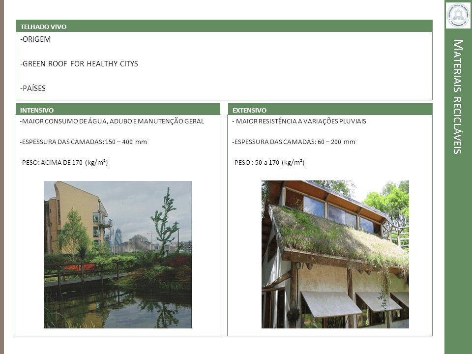 M ATERIAIS RECICLÁVEIS TELHADO VIVO -ORIGEM -GREEN ROOF FOR HEALTHY CITYS -PAÍSES INTENSIVO -MAIOR CONSUMO DE ÁGUA, ADUBO E MANUTENÇÃO GERAL -ESPESSUR